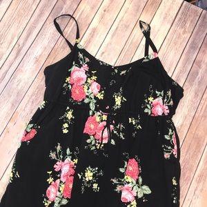 Torrid Size 3 Floral Henley Drawstring Tank Dress.